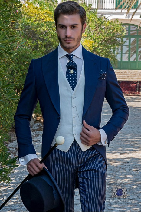 Blue italian tailored fit wedding morning suit with pinstripe trousers