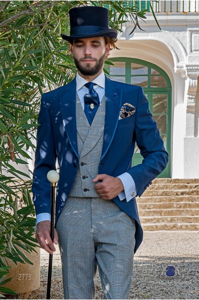 Royal blue italian tailored fit wedding morning suit with Wales check trousers