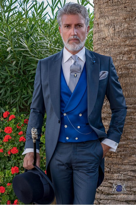 "Blue italian tailored fit wedding morning suit ""fil-à-fil"""