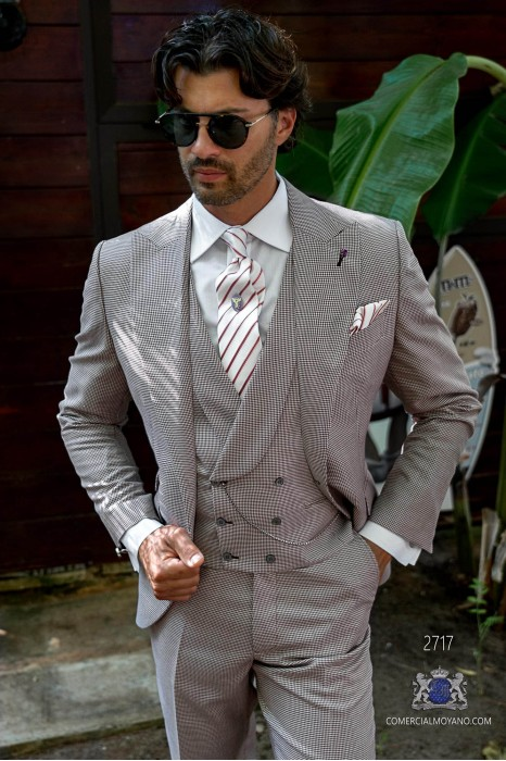 Burgundy houndstooth tailored fit italian men wedding suit