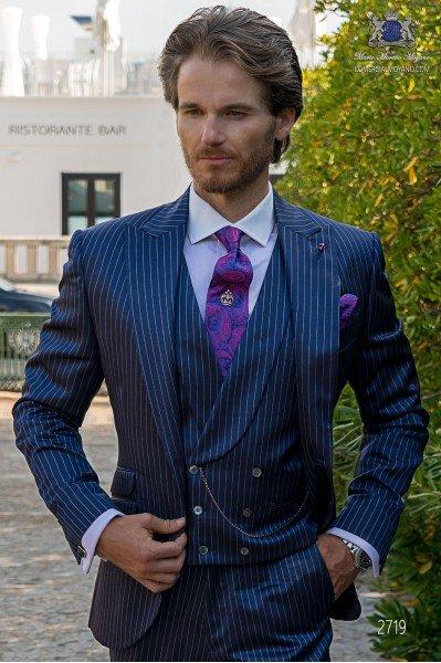Royal blue pinstripe tailored fit men wedding suit