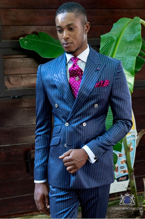 Royal blue pinstripe tailored fit italian men double breasted suit