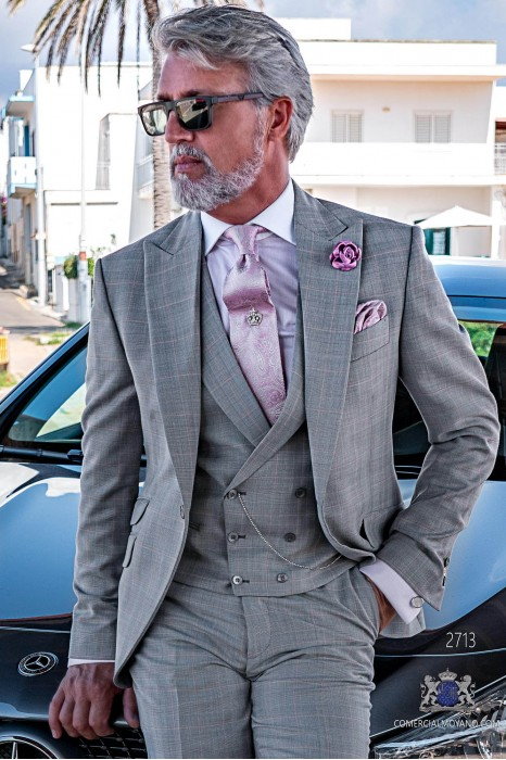 Grey & pink prince of Wales check tailored fit italian wedding suit