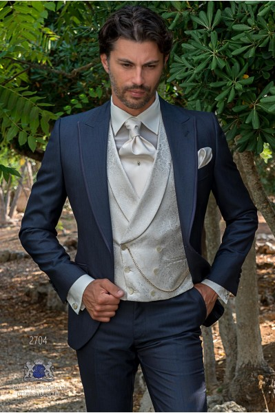 Blue tailored fit italian men wedding suit with contrast profile on lapels