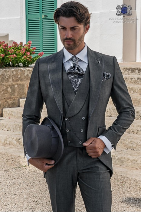Grey tailored fit italian men wedding frock-coat with contrast profile on lapels
