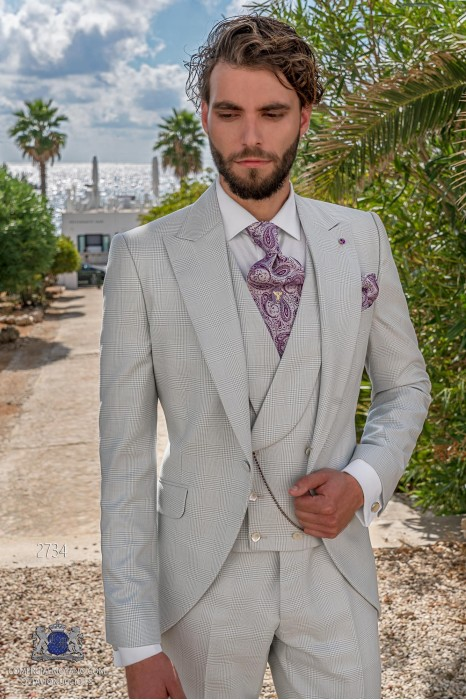 Light grey prince of Wales check tailored fit italian short frock-coat