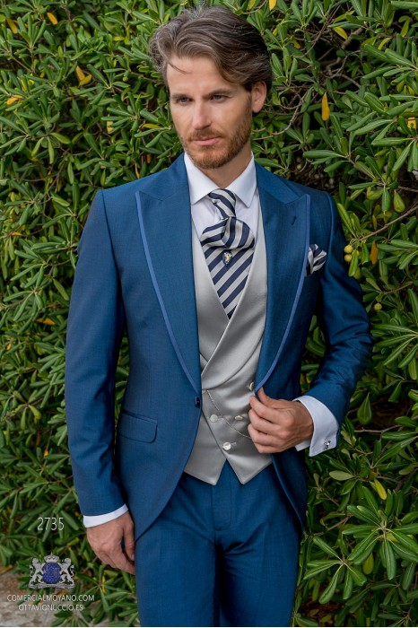 Blue tailored fit italian men wedding frock-coat with contrast profile on lapels
