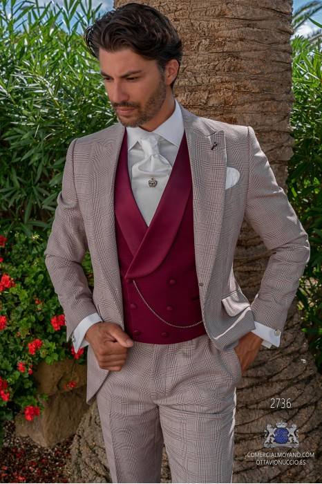 Burgundy prince of Wales check tailored fit italian short frock-coat