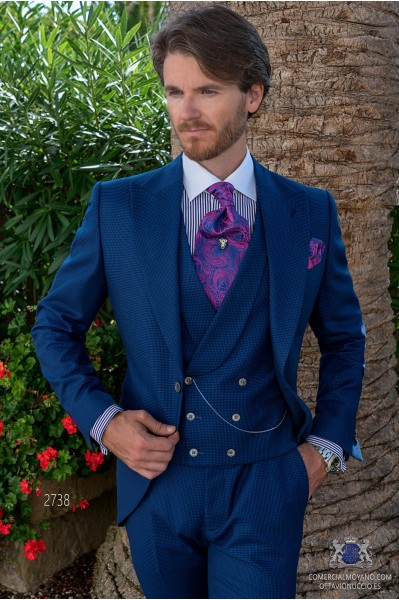 Royal blue houndstooth tailored fit italian men wedding frock-coat