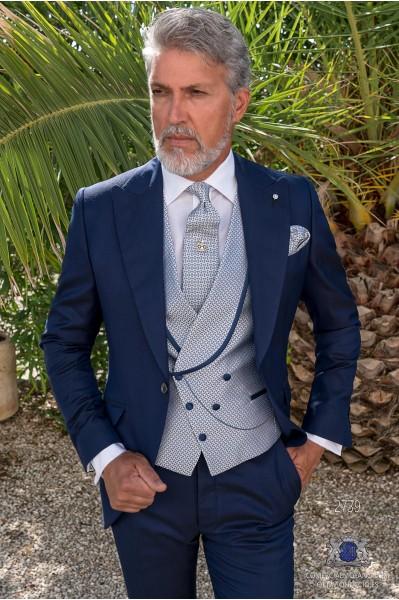 Blue tailored fit italian men wedding short frock-coat