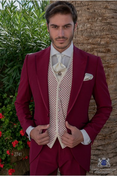 Burgundy tailored fit italian men wedding frock-coat with contrast profile on lapels