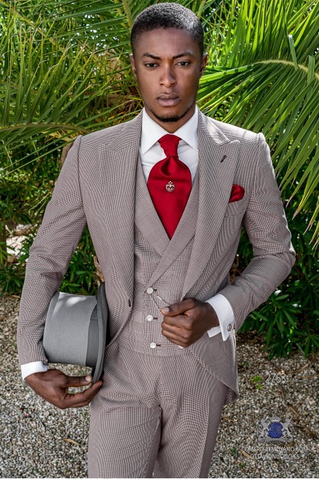 Burgundy houndstooth tailored fit italian men wedding morning suit