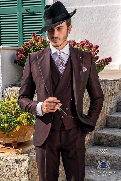 Burgundy tailored fit italian men wedding suit