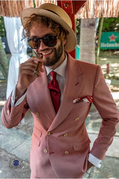 Red houndstooth tailored fit men wedding double breasted suit