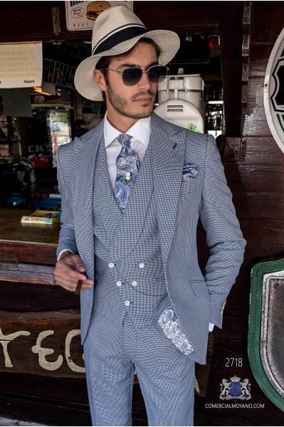 Blue houndstooth tailored fit italian men wedding suit