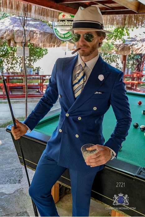 Royal blue houndstooth tailored fit italian men wedding suit