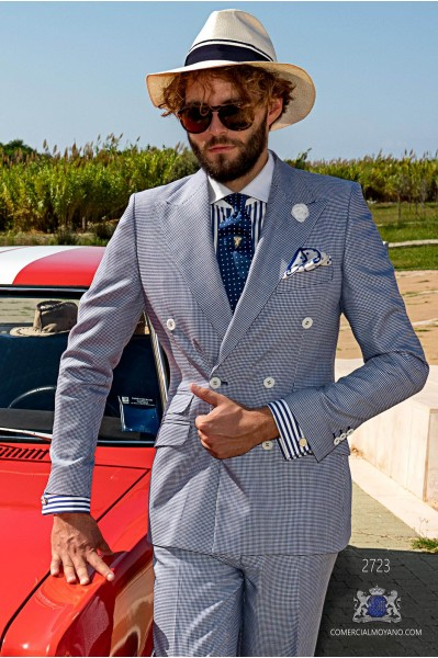 Blue houndstooth tailored fit italian men wedding double breasted suit