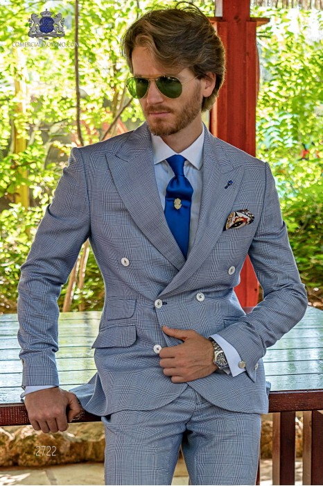 Blue prince of Wales check tailored fit italian men wedding double breasted suit