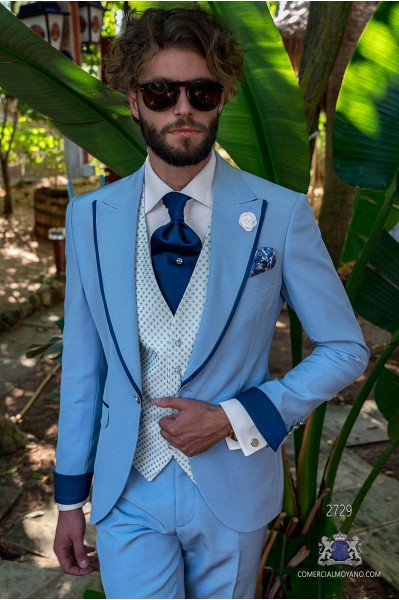 Light blue tailored fit italian men wedding suit with contrast profile on lapels