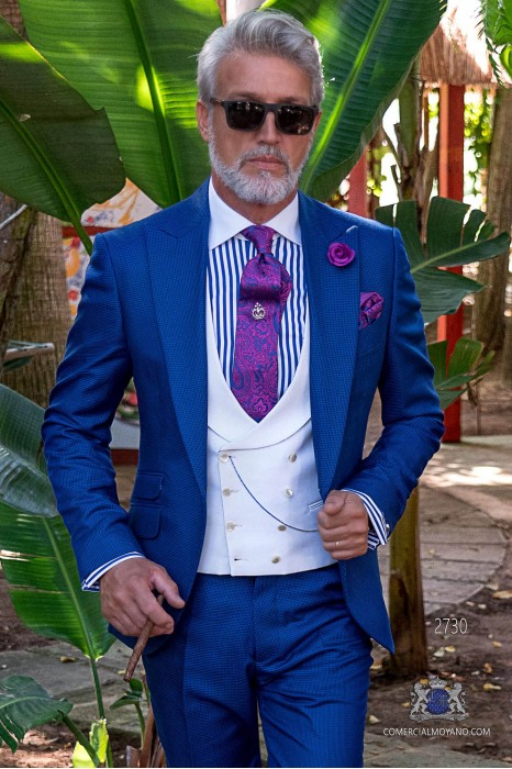 Blue Royal houndstooth tailored fit italian men wedding suit