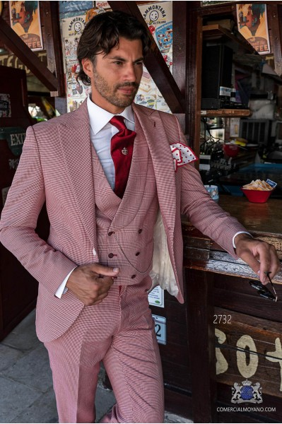 Red houndstooth tailored fit italian men wedding suit