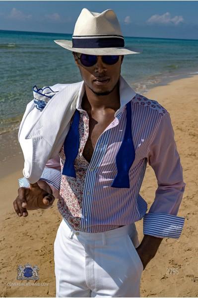 White cotton pique tailored fit italian men wedding suit
