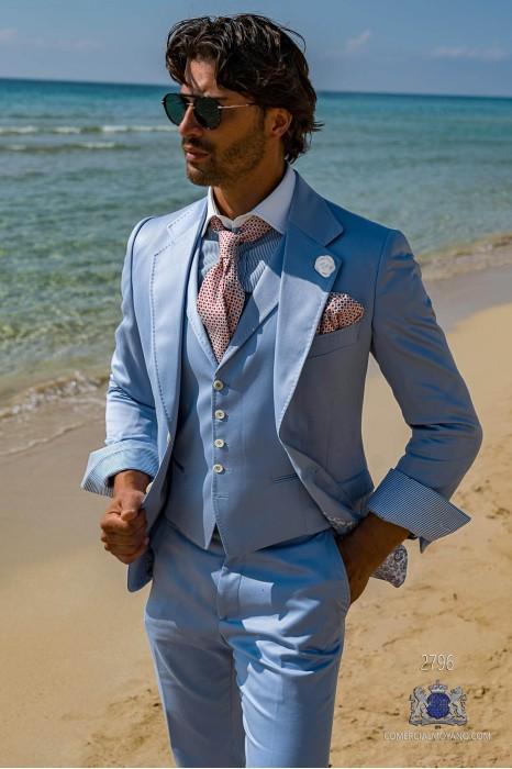 Light blue satin cotton tailored fit italian men wedding suit