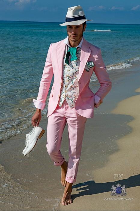 Pink pure linen tailored fit italian men wedding suit