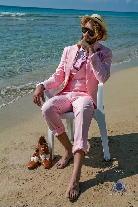 Pink pure linen tailored fit italian men wedding suit