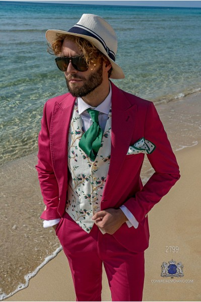 Fuchsia cotton pique tailored fit italian men wedding suit