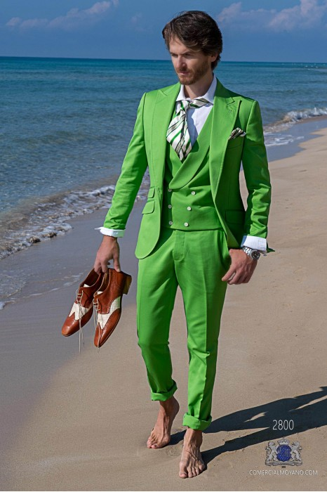 Green cotton pique tailored fit italian men wedding suit