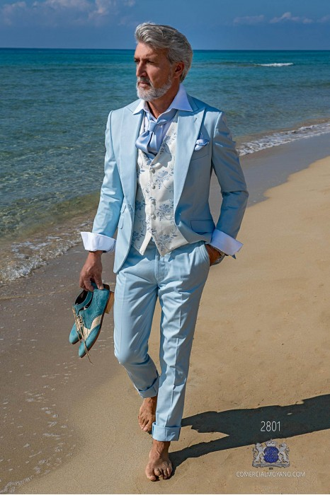 Light blue cotton tailored fit italian men wedding suit