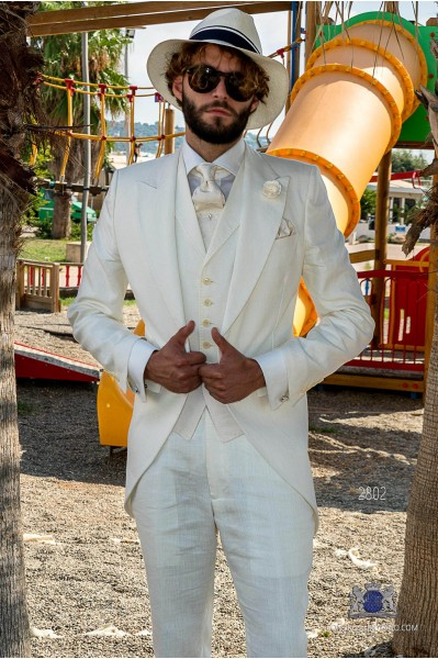 White pure linen tailored fit italian wedding morning suit