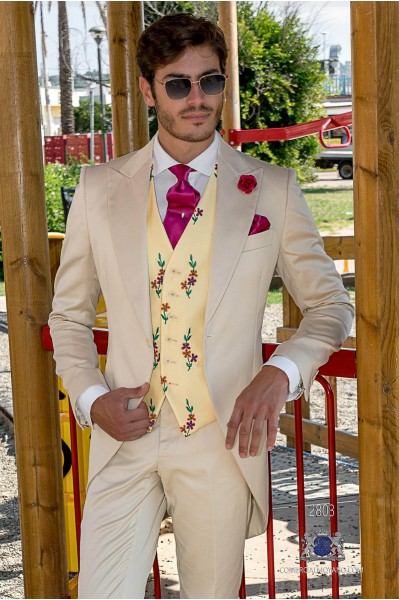 Beige satin cotton tailored fit italian wedding morning suit