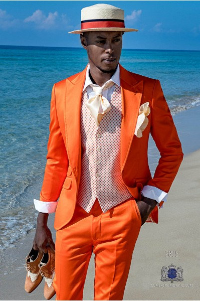 Orange satin cotton tailored fit italian men wedding suit