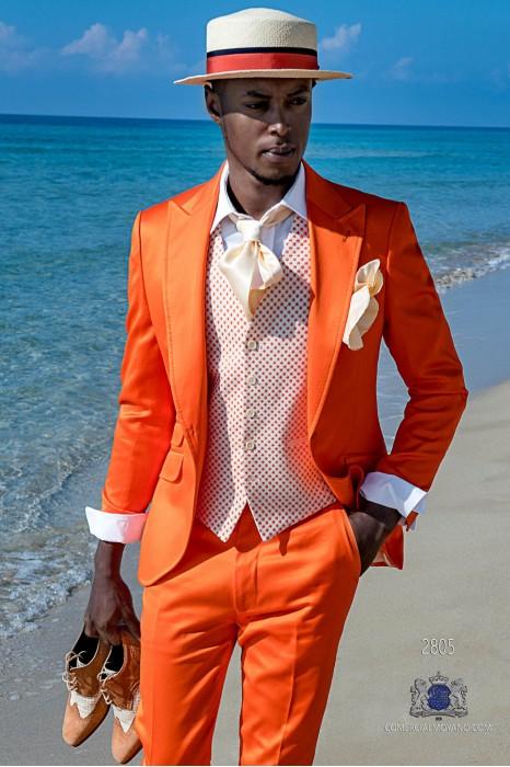Orange satin cotton tailored fit italian men wedding suit