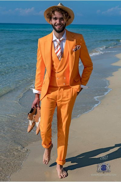Orange cotton pique tailored fit italian men wedding suit