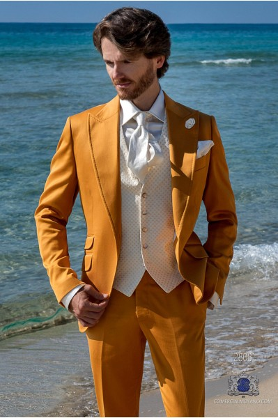 Golden satin cotton tailored fit italian men wedding suit
