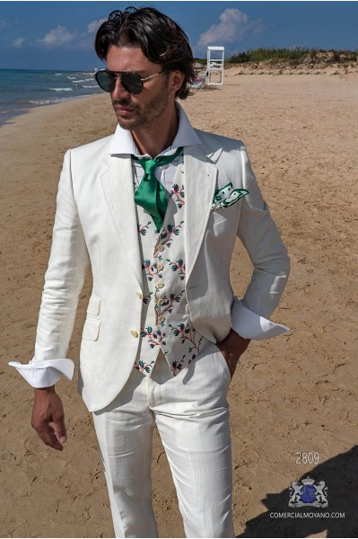 White pure linen tailored fit italian men wedding suit