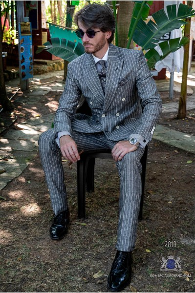 Grey pinstripe pure linen tailored fit italian men wedding double breasted suit