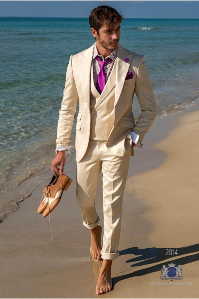 Beige satin cotton tailored fit italian men wedding suit