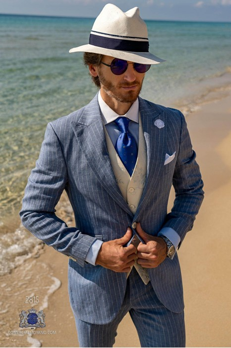 Blue pinstripe pure linen tailored fit italian men wedding suit