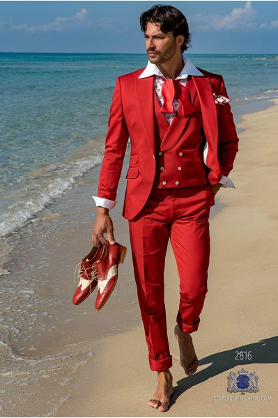 Red satin cotton tailored fit italian men wedding suit