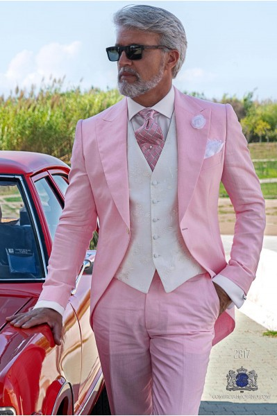 Pink pure linen tailored fit italian wedding morning suit