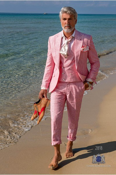 Red pinstripe pure linen tailored fit italian men wedding suit