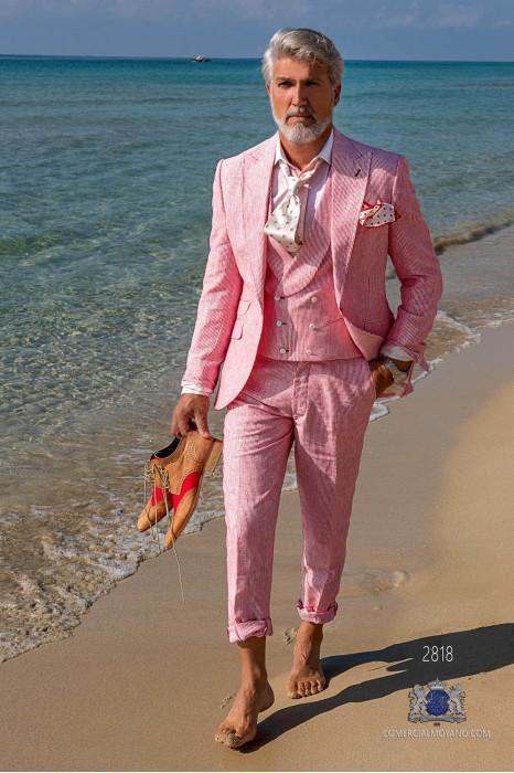 Red pinstripe pure linen tailored fit italian men wedding suit