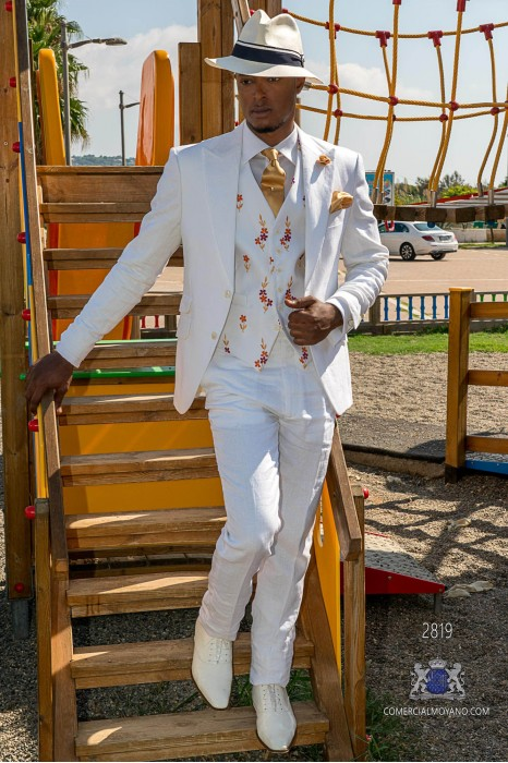 White pure linen tailored fit italian wedding suit