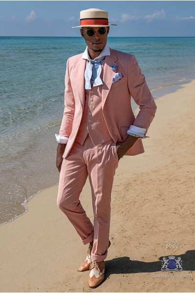 Red washed cotton tailored fit italian men wedding suit