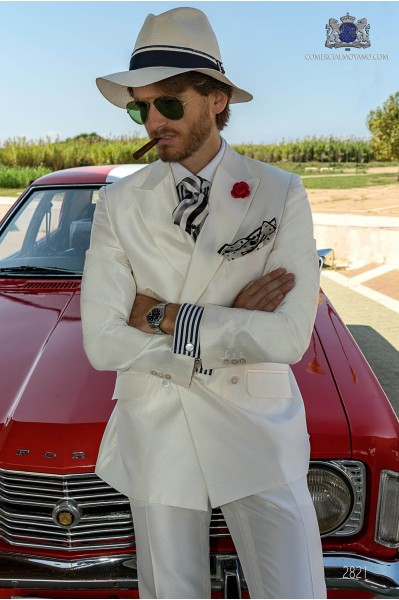 White shantung silk tailored fit italian men wedding double breasted suit