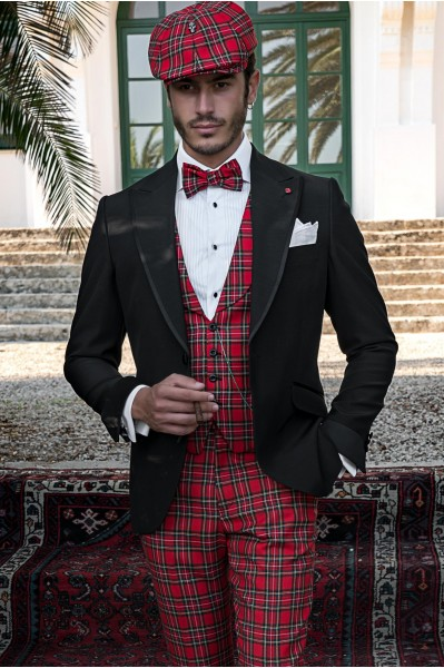 Black tailored fit italian men wedding suit coordinated with red plaid